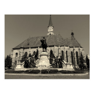 Cartão Postal Monumento de Matthias Corvinus e igreja de St