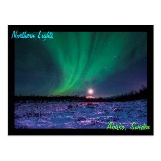 Cartão Postal Moonrise e a aurora boreal na suecia