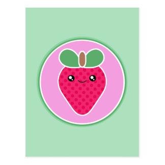 Cartão Postal Morango mega do doce de Kawaii