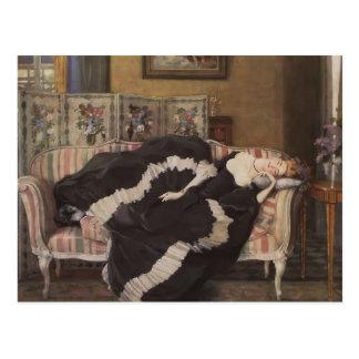 Cartão Postal Mulher de sono de Konstantin Somov- A