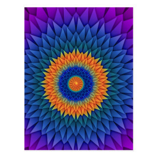 Cartão Postal Multi roxo Origami da flor