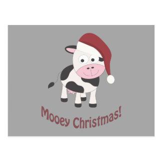 Cartão Postal Natal de Mooey! Vaca do papai noel