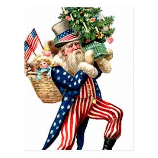 Cartão Postal Natal de Papai Noel do tio Sam