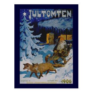 Cartão Postal Natal escandinavo 1906 do vintage