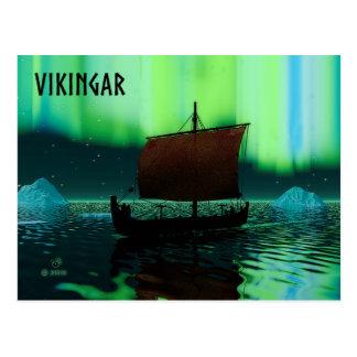 Cartão Postal Navio e aurora boreal de Viking