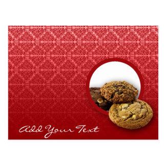 Cartão Postal Negócio vermelho das sobremesas do damasco de