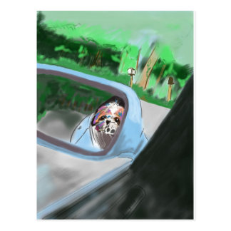 Cartão Postal No espelho do carro