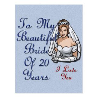 Cartão Postal Noiva de 20 anos