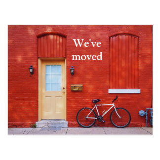 We've Moved Cute Modern Red House Bicycle