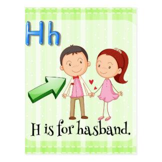 Cartão Postal O alfabeto H é para o marido
