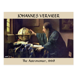 Cartão Postal O ASTRÓNOMO, Johannes Vermeer, 1668