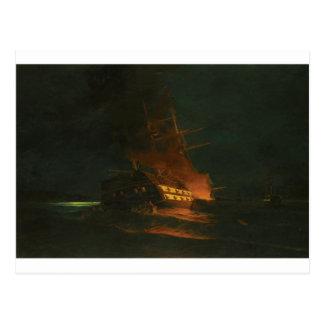 Cartão Postal O burning de uma fragata turca por Konstantinos