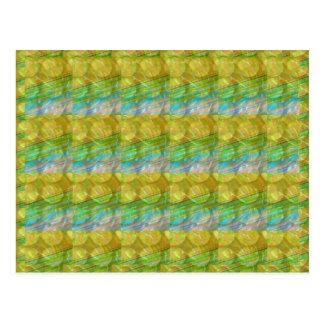 Cartão Postal O cristal verde dourado de GOODLUCK perla os