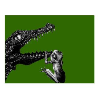 Cartão Postal O crocodilo e o sapo