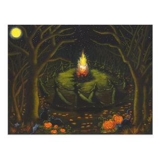 Cartão Postal O Dia das Bruxas, fogueira, bruxas, coven, mágica,