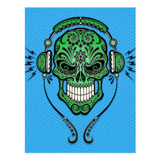 Cartão Postal O DJ verde e azul adoça o crânio