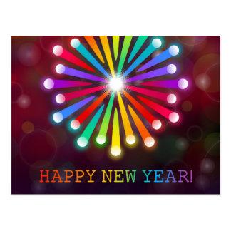 Cartão Postal O feliz ano novo de Starburst do arco-íris