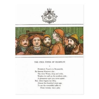 Cartão Postal O gaiteiro Pied
