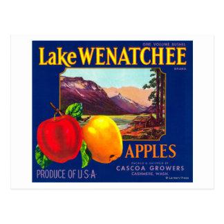 Cartão Postal O lago Wenatchee Apple etiqueta (azul) - a