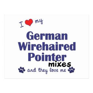 Cartão Postal O ponteiro Wirehaired alemão do amor mistura (os