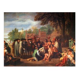 Cartão Postal O Tratado de Penn com indianos
