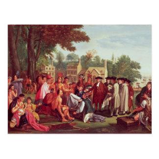 Cartão Postal O Tratado de William Penn com os indianos em 1683