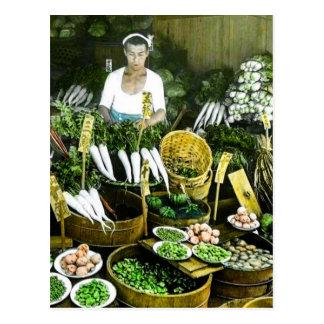 Cartão Postal O vintage japonês da colheita da queda do mercado