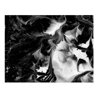 Cartão Postal O YIN & O YANG (arte abstracta preta & branca) ~.