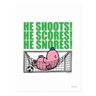 Cartão Postal Objetivo do futebol do Sr. Preguiçoso Napping Um