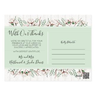 Cartão Postal Obrigado algodão do sul rústico & os Newlyweds de