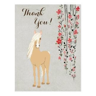 Cartão Postal Obrigado bonito do pônei do Palomino e do cavalo