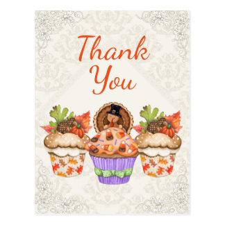 Cartão Postal Obrigado bonito dos cupcakes da acção de graças