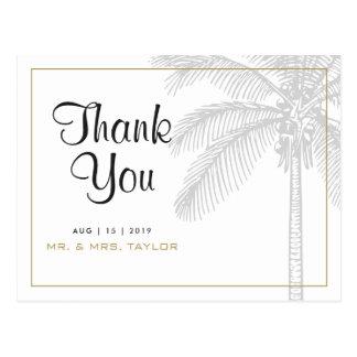 Cartão Postal Obrigado chique do casamento da palmeira & do ouro