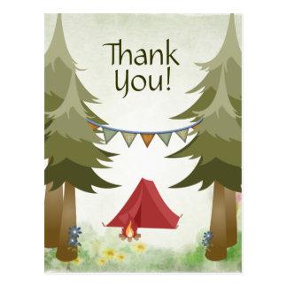 Cartão Postal Obrigado da floresta das árvores da fogueira da