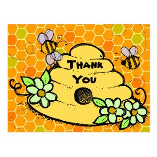 Cartão Postal Obrigado do aniversário da colmeia e das abelhas