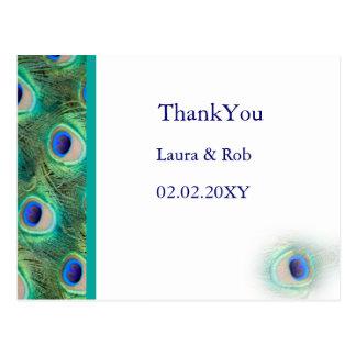 Cartão Postal obrigado do casamento do pavão você