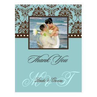 Cartão Postal Obrigado do damasco de Brown você cor de Photo/DIY