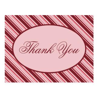 Cartão Postal Obrigado do feriado do bastão de doces da canela