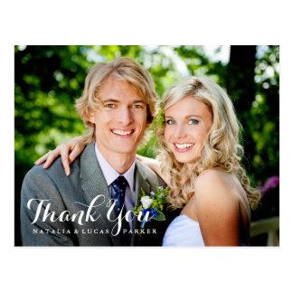 Cartão Postal Obrigado elegante baseado num guião do casamento