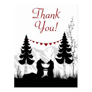 Cartão Postal Obrigado encantador dos ursos da montanha da