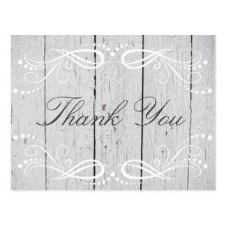 Cartão Postal Obrigado floral branco de madeira rústico do