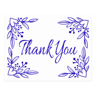 Cartão Postal Obrigado floral do cobalto dos azuis marinhos você