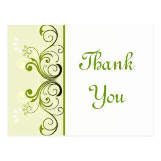 Cartão Postal Obrigado verde você