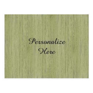 Cartão Postal Olhar de madeira de bambu da grão do verde de