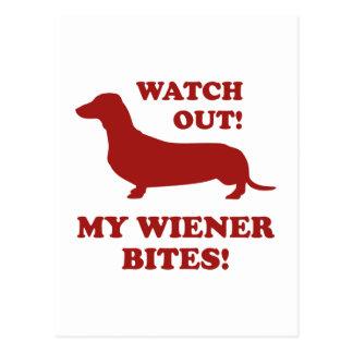 Cartão Postal Olhe para fora! Minhas mordidas do Wiener!