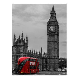 Cartão Postal Ônibus vermelho preto & branco de BW Big Ben de