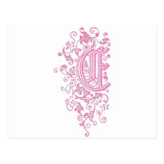 Cartão Postal Ornamentado Monogam de E