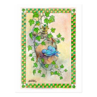 Cartão Postal OS BLUEBIRDS FELIZES por SHARON SHARPE