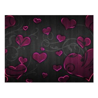 Cartão Postal Os corações cor-de-rosa com redemoinho de prata