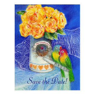 Cartão Postal Os Lovebirds que Wedding economias a data